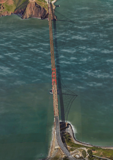 correct golden gate bridge on google earth