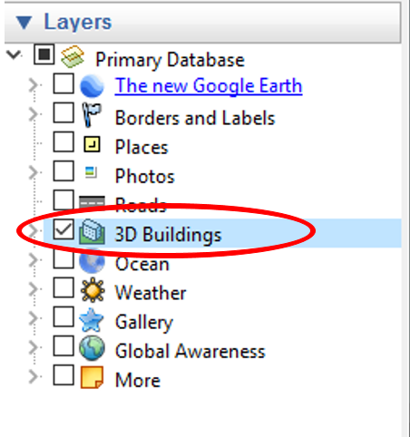 google earth building layer