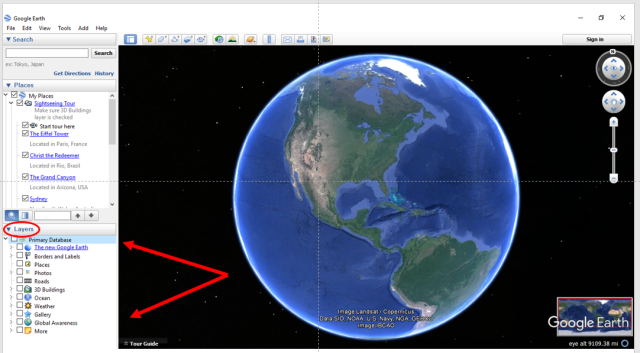 google earth picture whole and arrows